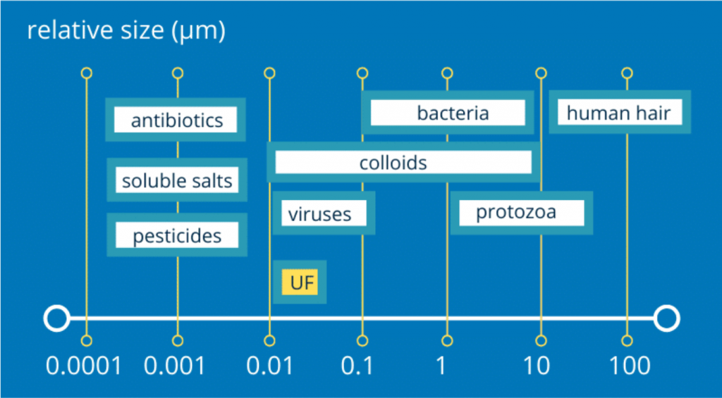 Size of bacteria, viruses and micro-organisms relative to water ultrafiltration (UF)