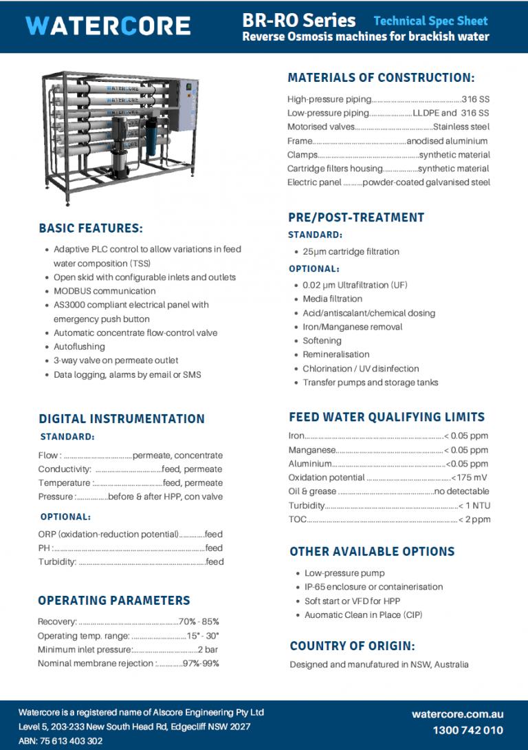 Spec sheet Industrial Reverse Osmosis plants Watercore