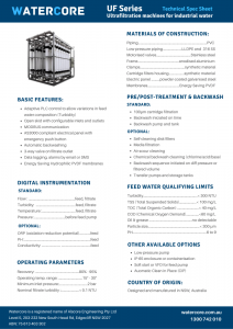 Industrial Ultrafiltration Series technical spec sheet